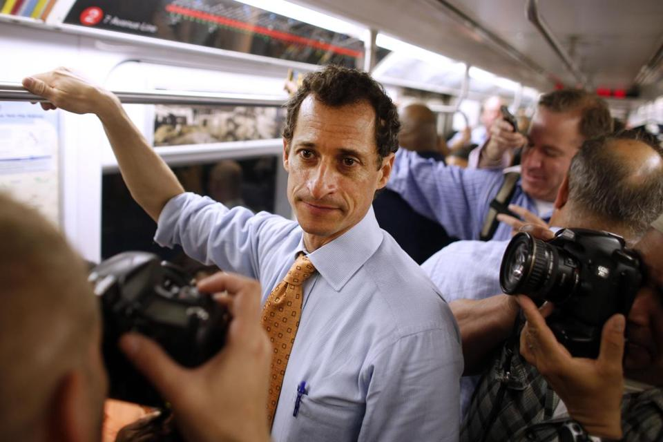 Anthony Weiner rode the subway to a radio station on Thursday, the first day of his New York mayoral campaign.