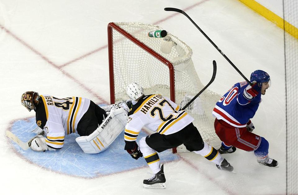 Rangers' Chris Kreider starts celebrating after his OT goal kept the Bruins from sweeping the playoff series.