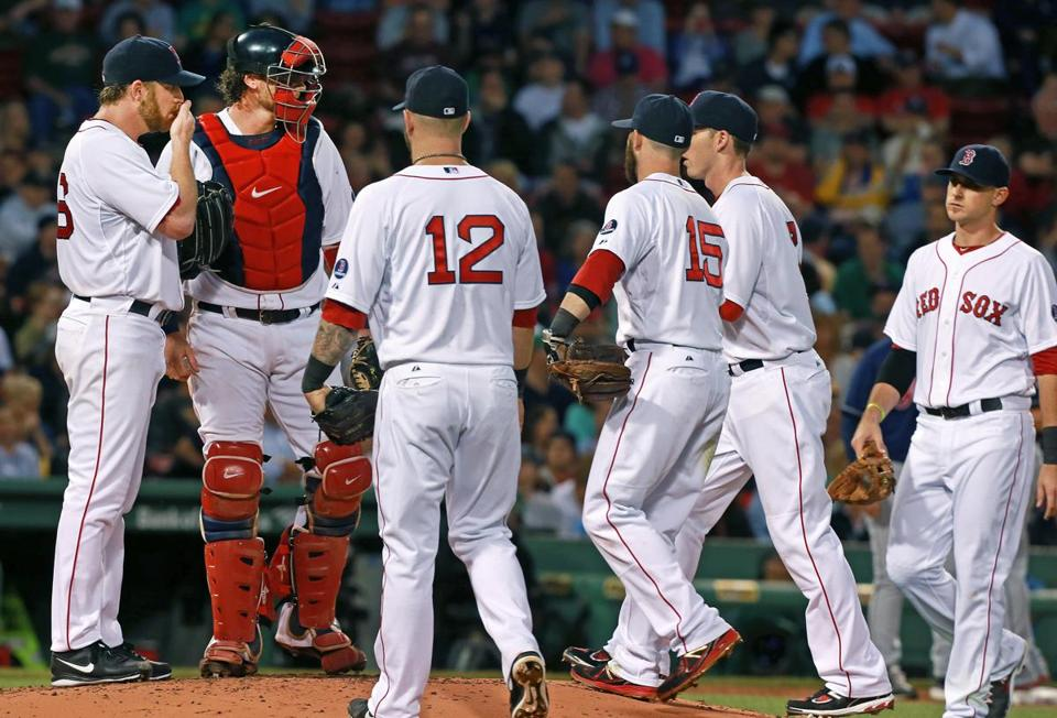 Red Sox starter Ryan Dempster (left) had plenty of company during a third-inning mound visit.