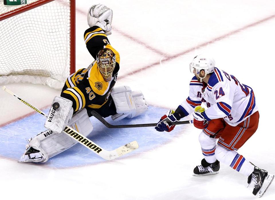 Bruins goalie Tuukka Rask stoned Rangers right wing Ryan Callahan on a breakaway in the third period.