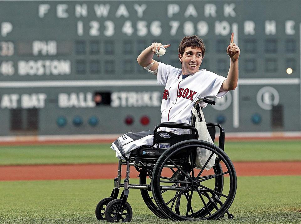 5/28/13: Boston, MA: Boston Marathon bombing victim Jeff Bauman threw out a ceremonial first pitch before the game. The Philadelphia Phillies visited the Boston Red Sox in a regular season MLB baseball game at Fenway Park. (Jim Davis/Globe Staff) section: sports topic: Sox-Phillies (1)