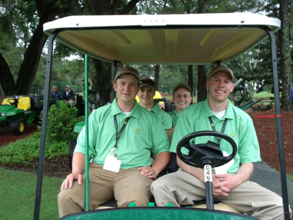 (From left) Ryan Bell, Sean Raposa, Peter White, and Evan Bradstreet spent a week on the TPC grounds crew.