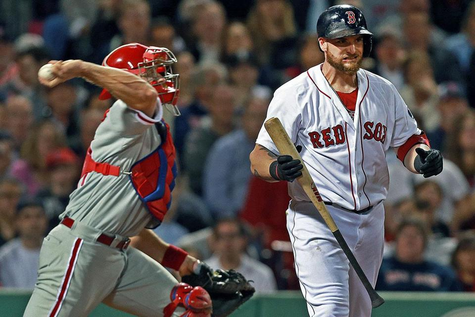 Jonny Gomes fanned for the first out of the ninth inning against Jonathan Papelbon.