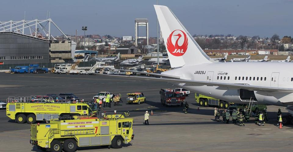 One of the fires that got the 787 grounded broke out when one of the planes was parked at Logan Airport in January.
