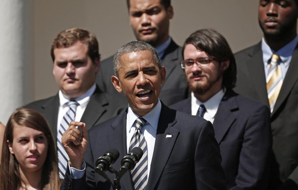 A group of college students was on hand as President Obama pressed for student loan legislation at the White House.