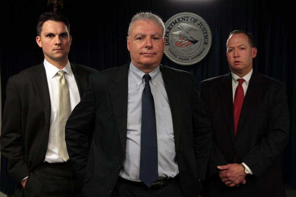 "Assistant US attorneys (from left) Zachary Hafer, Fred Wyshak, and Brian Kelly will prosecute James ""Whitey"" Bulger. Wyshak and Kelly have been on the case for decades."