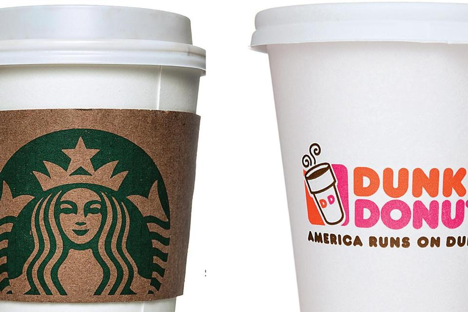 The number of Dunkin' Donuts and Starbucks locations in communities north of Boston.