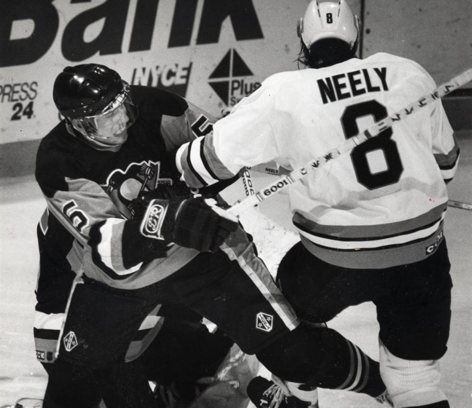 In a familiar — and later chilling — scene, the Penguins' Ulf Samuelsson used every force necessary against Cam Neely.