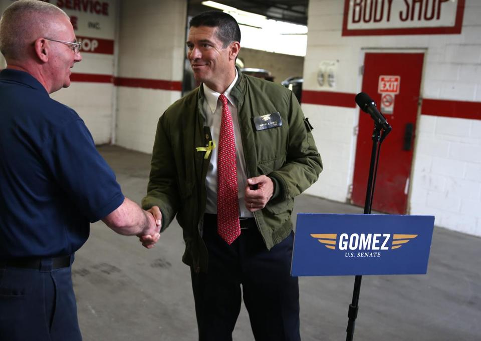 Gabriel Gomez campaigned in Mattapan on May 28.