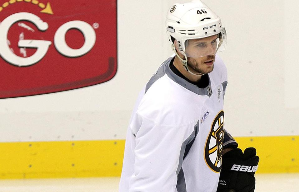 David Krejci practices Sunday after the center got the Bruins going Saturday night with the first two goals in their win over the Penguins.