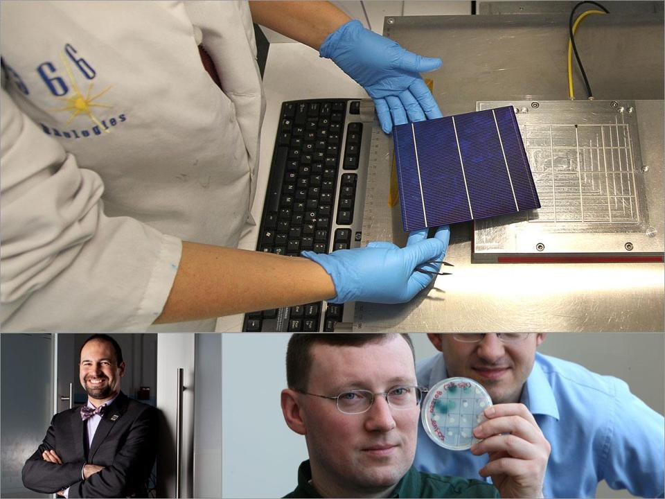 ARPA-E, a US agency that helps firms commercialize clean energy technologies, has awarded grants to 1366 Technologies of Bedford (top); FastCAP Systems of Boston, led by Riccardo Signorelli (left); and Agrivida of Medford, headed by R. Michael Raab (right).