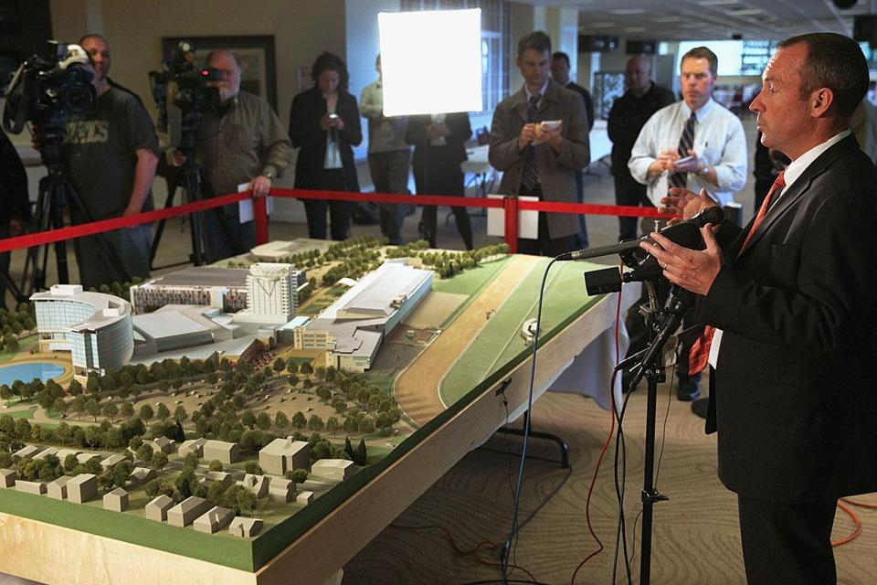 Chip Tuttle, chief operating officer of Suffolk Downs, unveiled the proposed casino and hotel project on March 27.