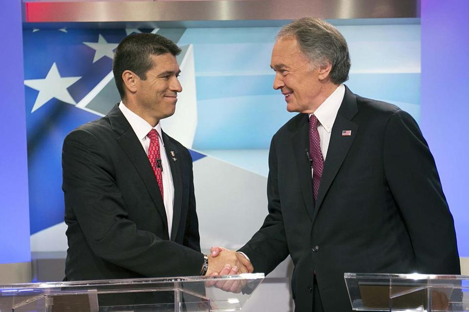 Gabriel Gomez, left, and Edward Markey faced off in their first debate in the US Senate race.