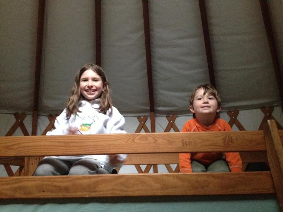 Joanna Weiss' children Ava, 8, and Jesse, 4, in a yurt in Nickerson State Park, Brewster.