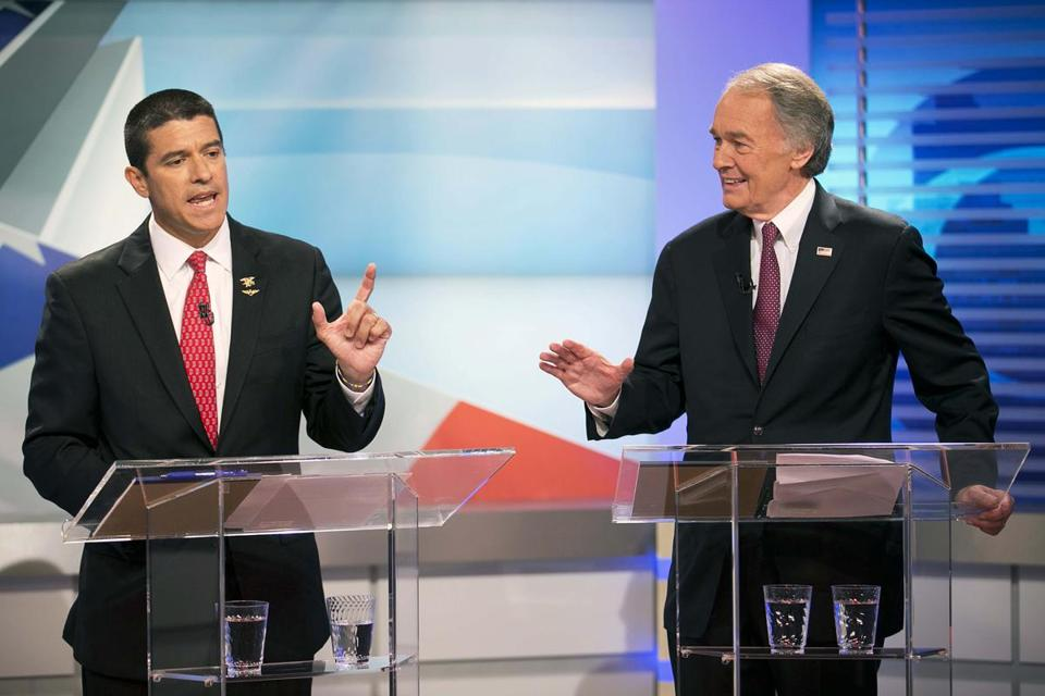 Republican Gabriel Gomez, left, and Democrat Edward Markey met in the first of three televised debates.