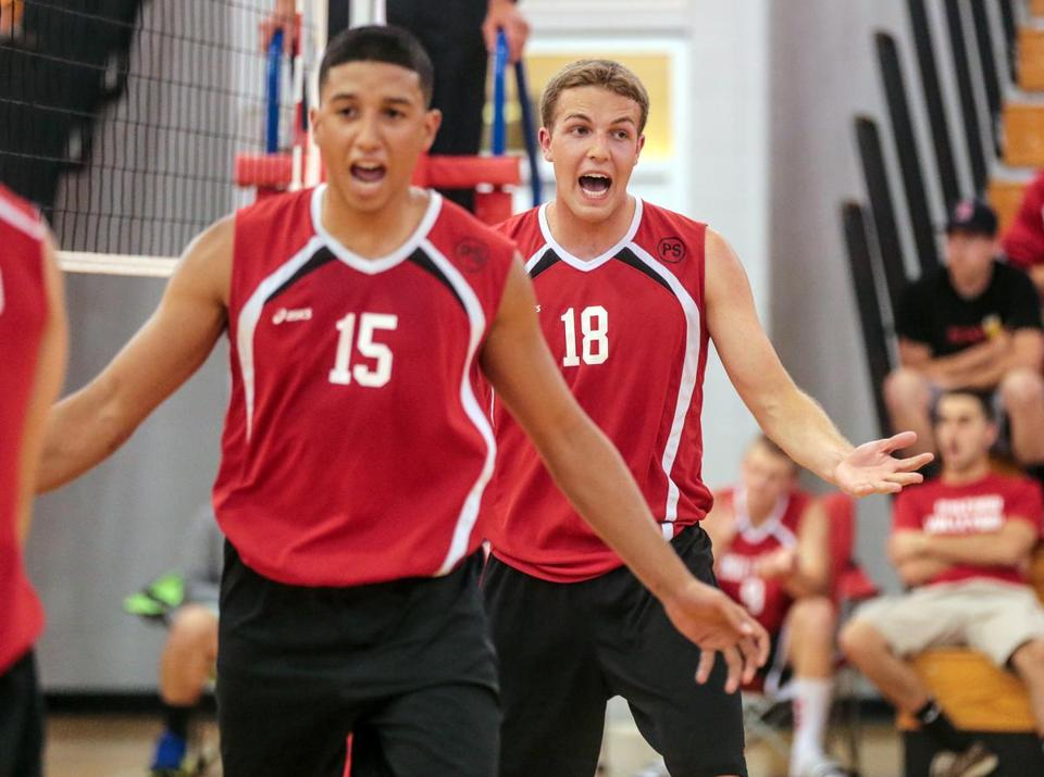 Jose Cora (15) scored eight kills to help Milford survive Lawrence and advance to the state championship game for the second straight season.