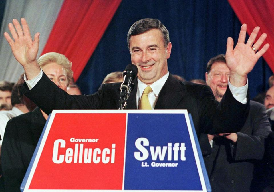 Paul Cellucci reacted to the cheers of the crowd as he declared victory in the Massachusetts Governors race on Nov. 3, 1998.