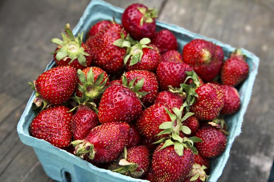Homegrown strawberries for sale at a roadside market outside Gettysburg, Pa.