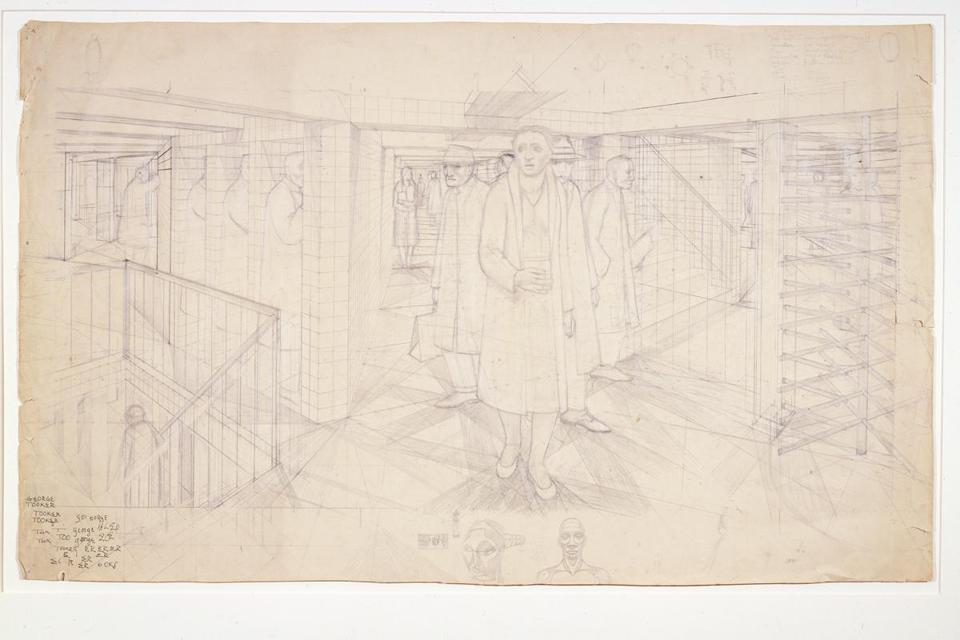 "George Tooker's ""Study for Subway"" in the Addison show."