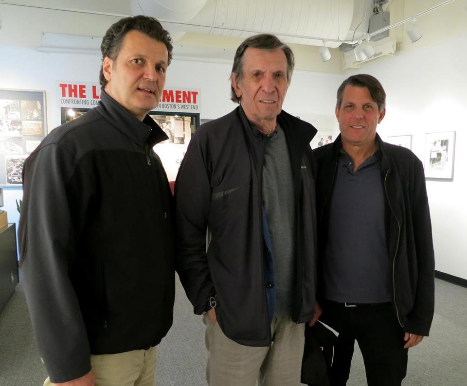 From left: West End Museum curator Duane Lucia with Leonard and Adam Nimoy.