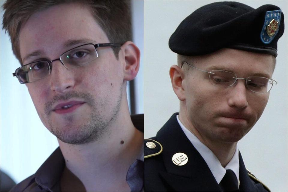 Edward Snowden (left) and Bradley Manning worked with classified material.