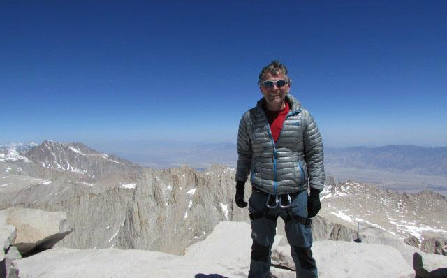 Framingham town counsel Christopher Petrini at the summit of Mt. Whitney on April 22, 2013.
