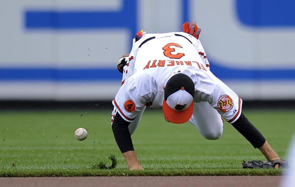 There were tricky hops all around in Baltimore as second baseman Ryan Flaherty couldn't handle this first-inning single Wednesday.