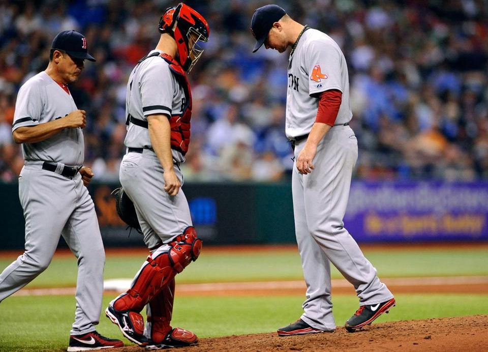 Red Sox pitcher Jon Lester got knocked out in the fifth inning.