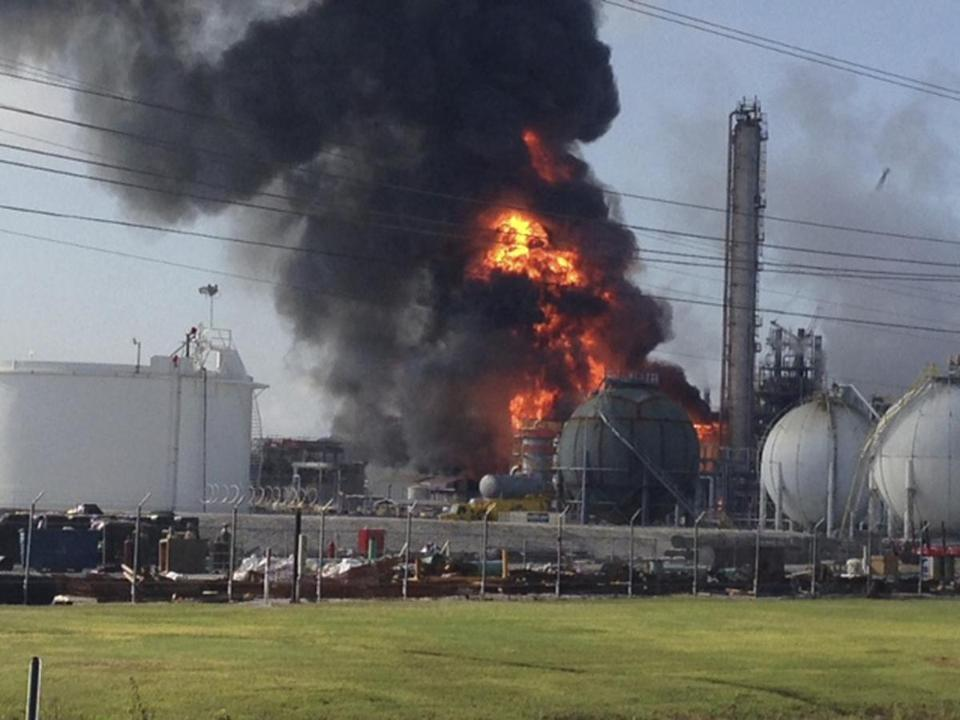 A large fire burned at the Williams Olefins chemical plant in Geismar, Louisiana.