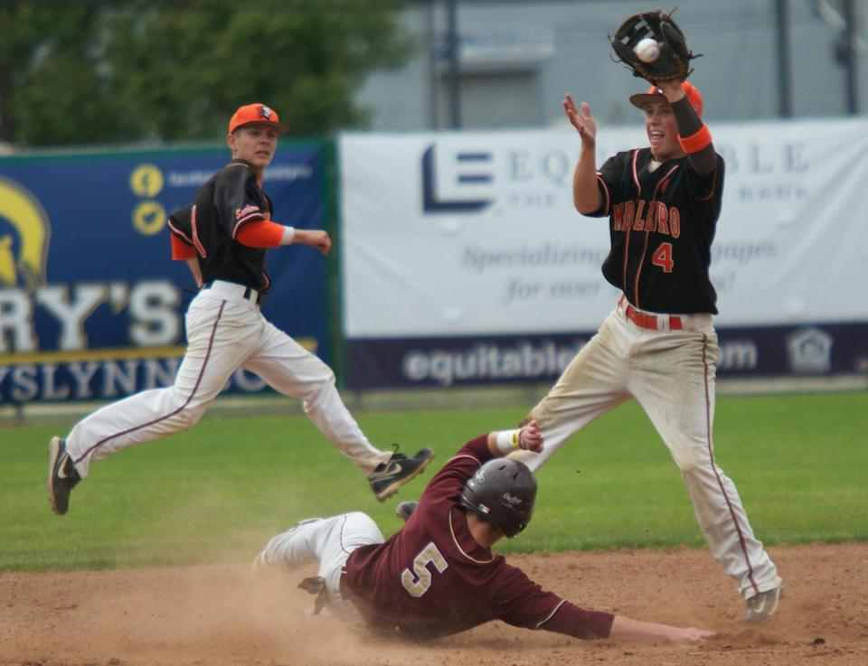 Middleborough's Neil Perry stretches to nab Whittier's sliding Nathan Frongillo in the Division 3 state semifinal Wednesday at Frasier Field in Lynn. Below, Perry's teammate Cody Younger urges on his team on.