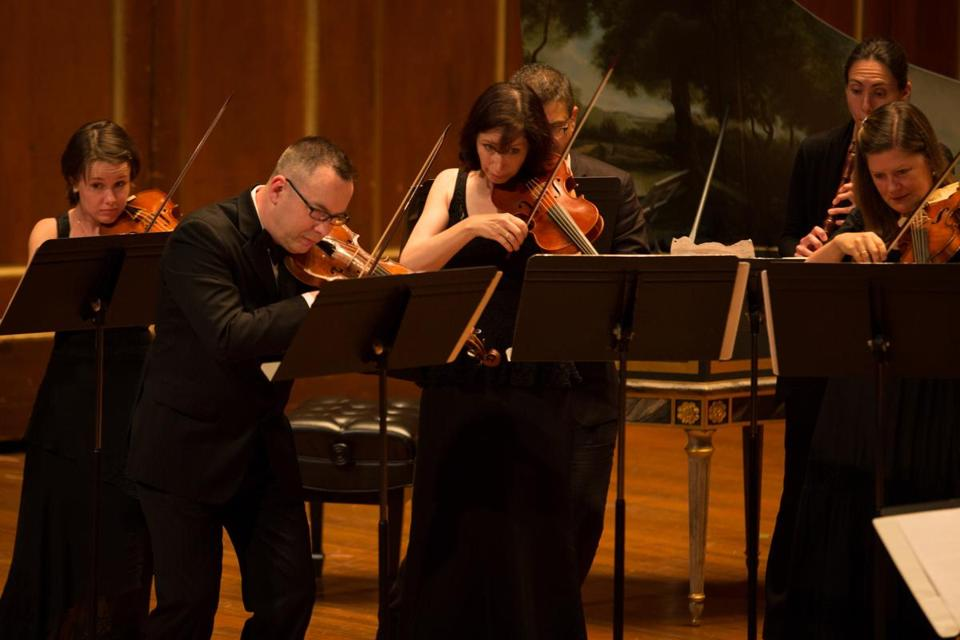 The Boston Early Music Festival Orchestra performing in Jordan Hall on Thursday.