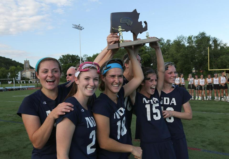 Notre Dame of Hingham celebrated their state championship trophy.