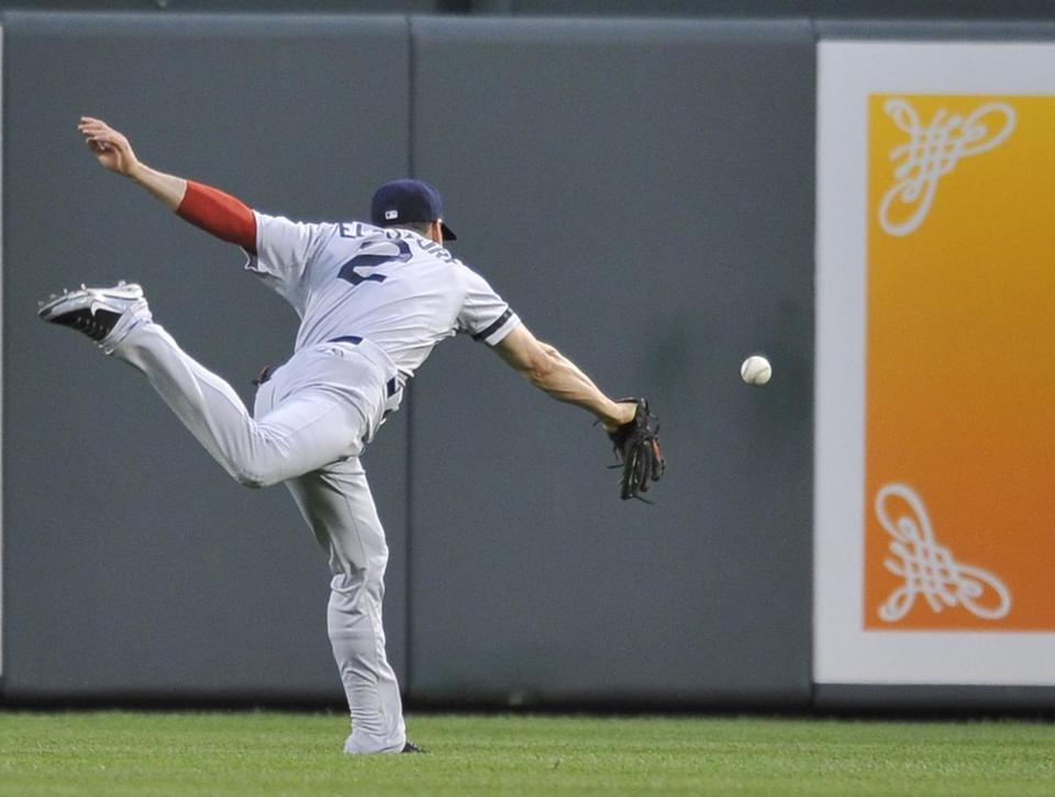 Red Sox center fielder Jacoby Ellsbury was unable to catch up with a ball hit by Danny Valencis in the fourth inning.