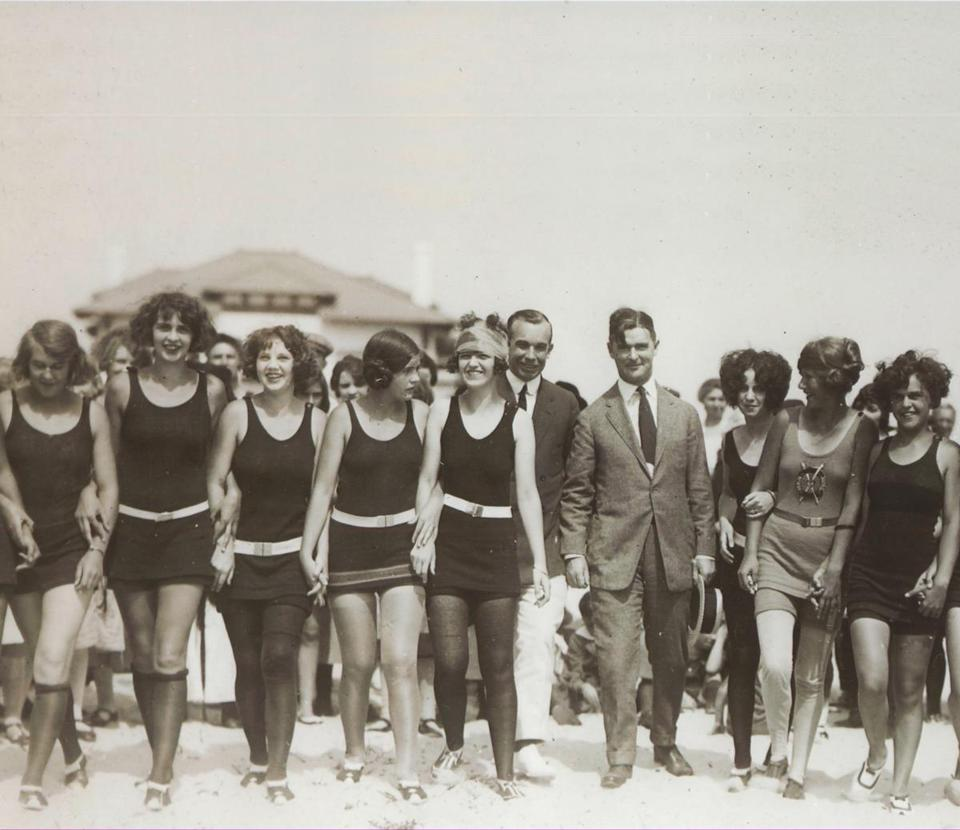 The pageant was in its third year when the contestants were photographed on the beach in Atlantic City in 1923.