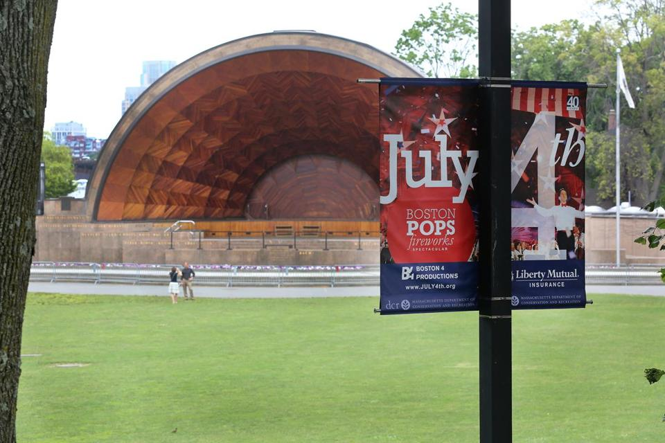 The Hatch Shell was empty on Sunday, but on July Fourth it will be packed with celebrants for a Boston Pops concert and fireworks.