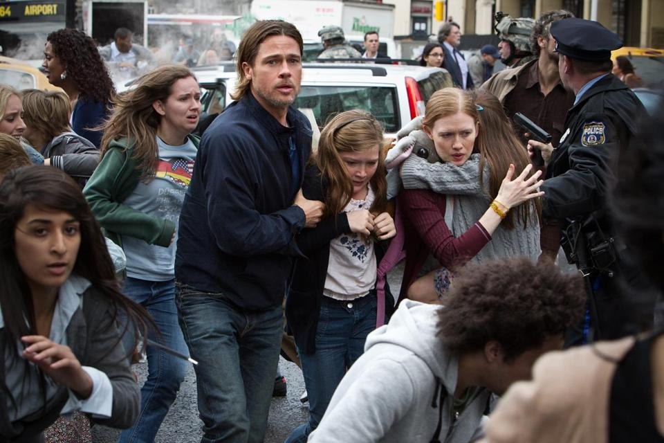 Brad Pitt (with Abigail Hargrove and Mireille Enos) battles zombies as a worried family man.