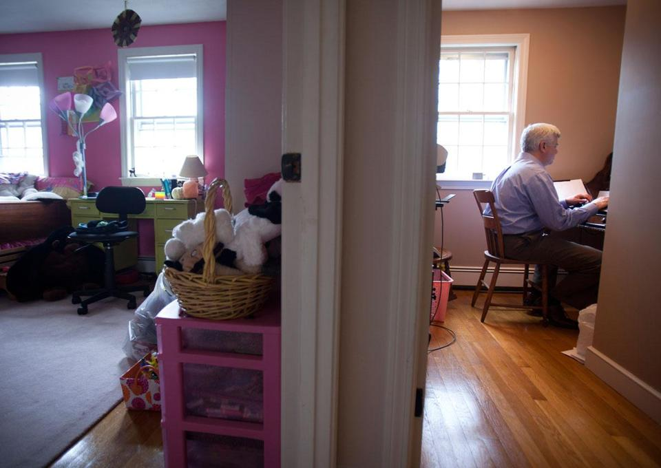 Roger Ahlfeld of Framingham conducted a job search from his tiny home office next to his daughter's bedroom.