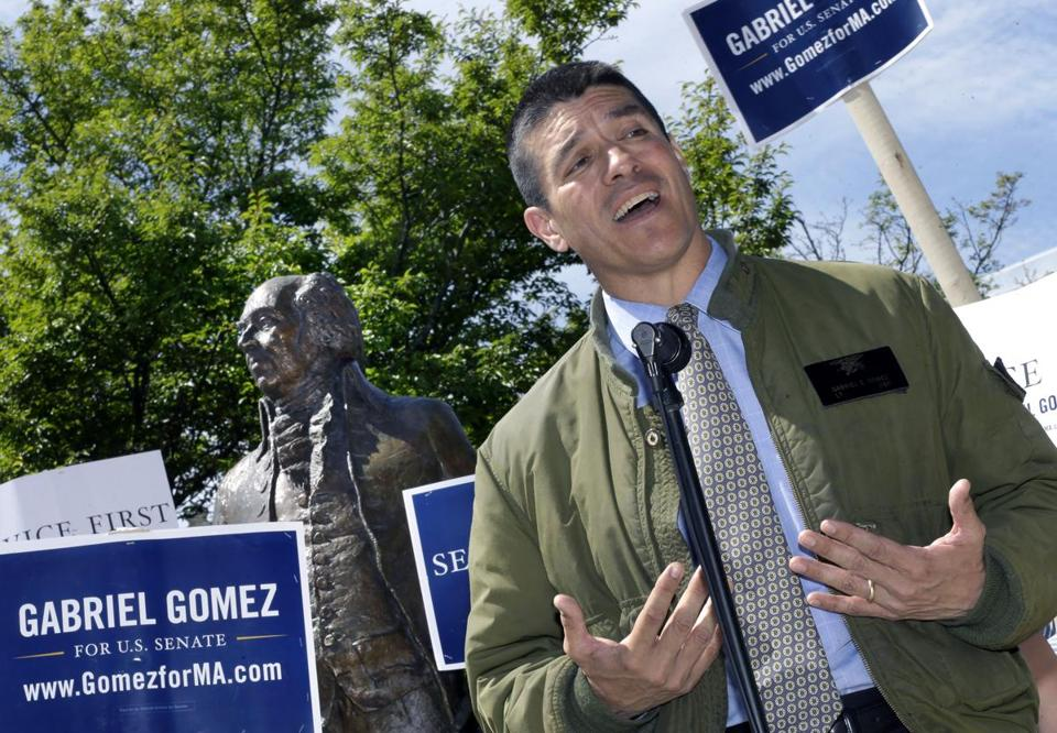 Gabriel Gomez campaigned in Quincy in May.
