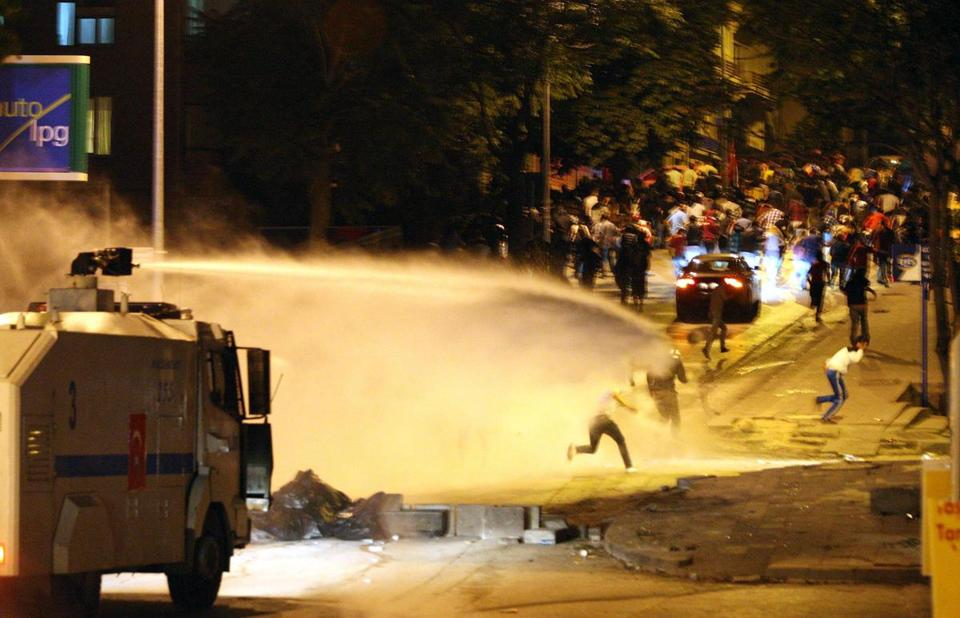 Police used a water cannon against antigovernment protesters during a demonstration in Ankara on Monday,