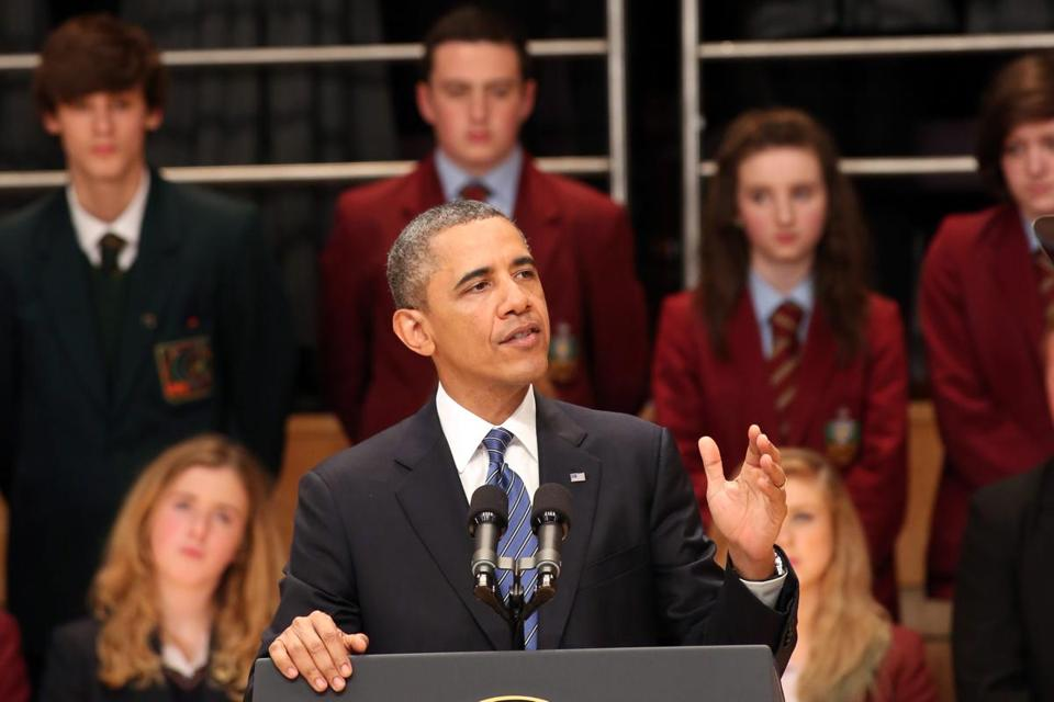 President Obama spoke to about 1,800 students and adults at Belfast's Waterfront Hall.