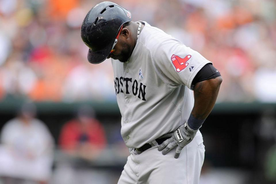 David Ortiz reacts to flying out in the eighth inning, ending the Sox DH's 0-for-4 performance.