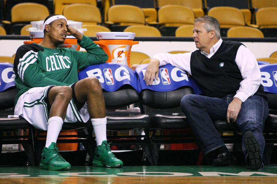 Celtics president Danny Ainge faces a big decision on whether to keep Paul Pierce in the fold. The aging veteran led the team in minutes played this year.