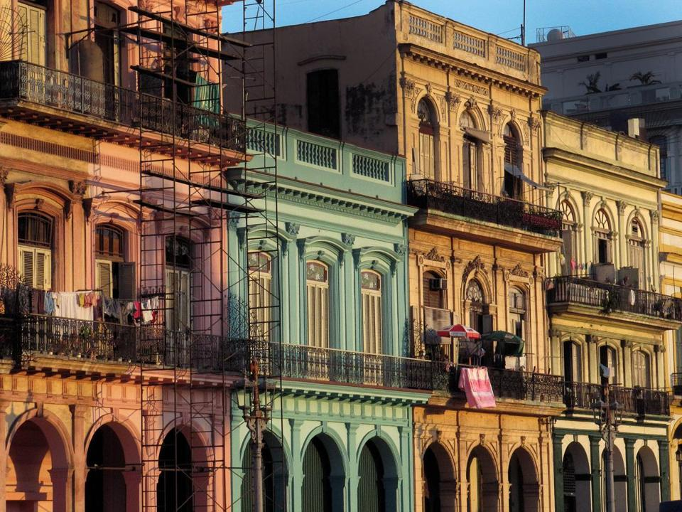 Old Havana streetfront buildings.
