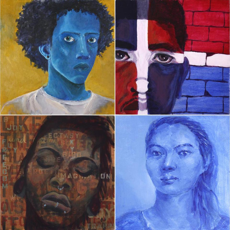 "Clockwise from top left: Jameel Radcliffe, 19, Untitled; Jesus Mendes, 17, ""Dominican Pride""; Wanbin (Agnes) Long, 21, ""Self Portrait""; Kitauna Parker, 19, ""Imaginations"""