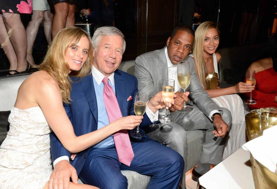 From left: Ricki Lander, Robert Kraft, Jay-Z, and Beyoncé at the 40/40 Club anniversary party.