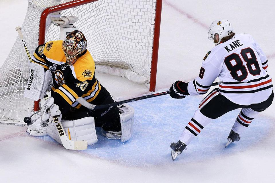 Nothing got past the steady hands of Tuukka Rask, who turned aside the Blackhawks' Patrick Kane on the doorstep for one of the Bruins goaltender's 28 saves in Game 3 at TD Garden.