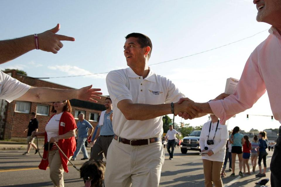 Gabriel Gomez, shown in Dedham Friday, has made a point of showing he's campaigning for every vote.