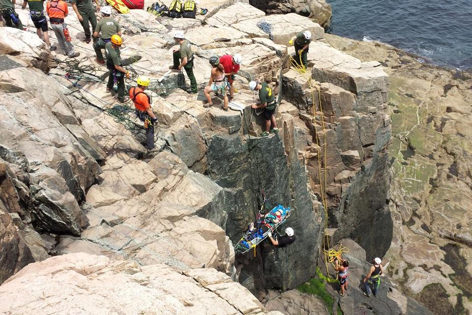 An injured rock climber was extricated Sunday from the Otter Cliff area of Acadia National Park near Bar Harbor, Maine. The two climbers injured in a 25-foot fall off the cliffside are in good condition, according to the National Park Service.