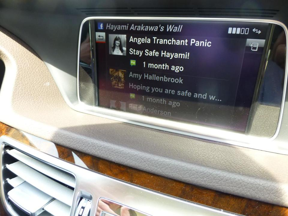 "The 7-inch dashboard screen offered by Mercedes-Benz in 2013 models can display a modified Facebook ""wall,"" but only when the car is stopped."