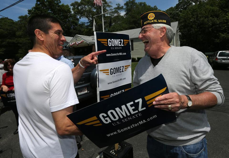 Gabriel Gomez greeted supporter Conley Ford of Scituate while campaigning Thursday afternoon.